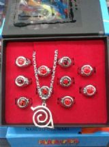 Naruto Sya Rin Gan Ring and Konoha Necklace Set