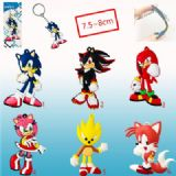 sonic anime rubber keychain