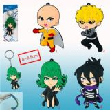 one punch man anime rubber keychain