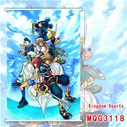 Kingdom Hearts White Plastic rod Cloth painting Wall Scroll