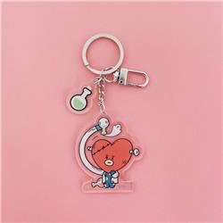 BTS Love Cartoon transparent acrylic keychain pendant price for 5 pcs