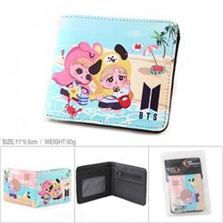 BTS-1 Full color PU silk screen two fold short card holder wallet