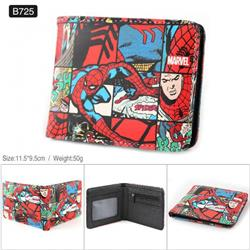 Marvel The Avengers Spiderman Full color PU twill two fold short wallet B725