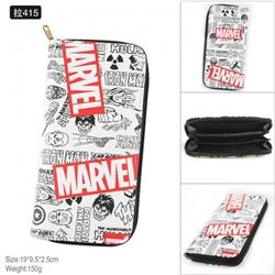 Marvel Full Color PU twill two-fold zipper long wallet-Pull 415