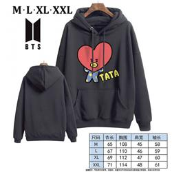 BTS-9A Black Printed hooded and velvet padded sweater M L XL XXL