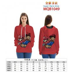 Super Mario Bros Full color zipper hooded Patch pocket Coat Hoodie 9 sizes from XXS to 4XL MQB1049