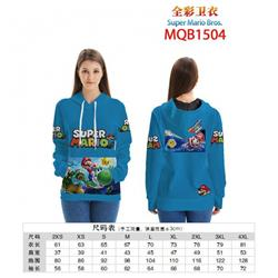 Super Mario Bros Full color zipper hooded Patch pocket Coat Hoodie 9 sizes from XXS to 4XL MQB1504