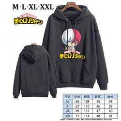 My Hero Academia-7 Black Printed hooded and velvet padded sweater M L XL XXL