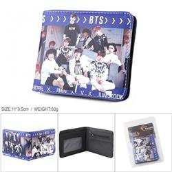 BTS Full color PU silk screen two fold short card holder wallet Style A