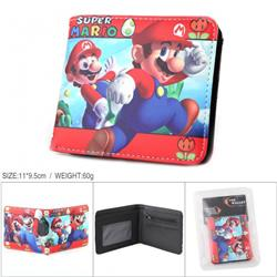Mario Full color PU silk screen two fold short card holder wallet