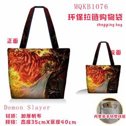 Demon Slayer Kimets Full color green zipper shopping bag shoulder bag MQKB1076-1