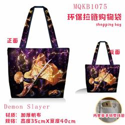 Demon Slayer Kimets Full color green zipper shopping bag shoulder bag MQKB1075-1