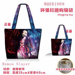 Demon Slayer Kimets Full color green zipper shopping bag shoulder bag MQKB1069-1