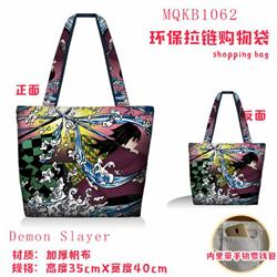 Demon Slayer Kimets Full color green zipper shopping bag shoulder bag MQKB1062-1