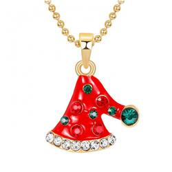 Christmas hat Necklace pendant 2X2.5CM 9G Chain length:42+5CM price for 6 pcs