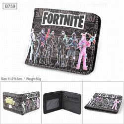 Fortnite Full color PU twill two fold short wallet B759