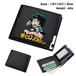 my hero academia Black short folding leather wallet