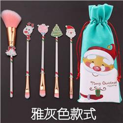Christmas Elk makeup brush Gray a set of five 13.5-15.5CM price for 2 set