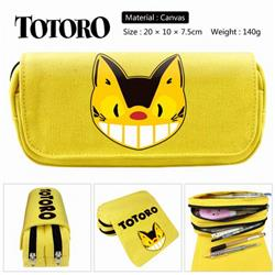 Totoro yellow Anime double layer multifunctional canvas pencil bag stationery box wallet 20X10X7.5CM 140G