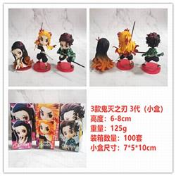 Demon Slayer Kimets Nezuko Tanjirou Kyoujurou a set of 3 Small box decoration model 6-8CM 125G Color box size:7X5X10CM