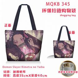 Demon Slayer Kimets Full color green zipper shopping bag shoulder bag MQKB345