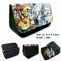 Totoro-2B Anime double layer multifunctional canvas pencil bag wallet 21X14X7.5CM 100G