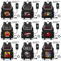 12 Styles Among Us Game Pattern USB Charging Canvas Backpack School Bag